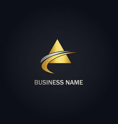 triangle loop abstract gold logo vector image