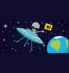ufo and alien in space vector image