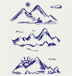 Various high mountain peaks vector image