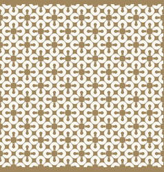 White and gold geometric floral ornament seamless vector
