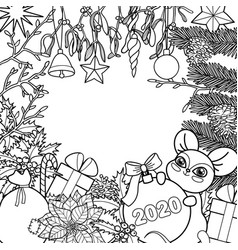 winter holiday coloring page with mouse symbol vector image