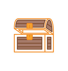 wooden chest fantasy line fill style vector image