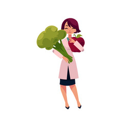 young woman doctor holding huge apple and broccoli vector image