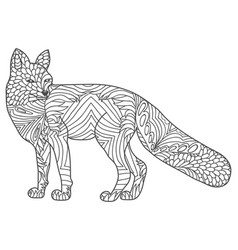 zentangle happy fox for adult anti stress vector image