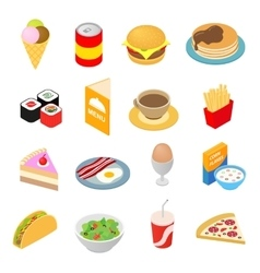 Fast food isometric 3d icons set vector image vector image