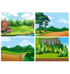 four forest scenes at daytime vector image vector image