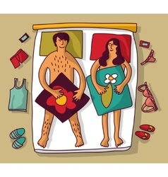 Man and woman couple naked sex relations in bad vector image