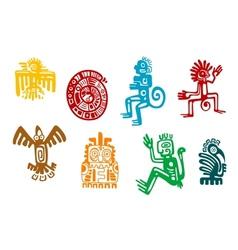 Abstract maya and aztec art symbols vector image