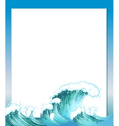 An empty paper template with waves at the bottom vector