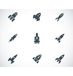 black rocket icons set vector image
