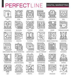 digital marketing outline mini concept symbols vector image vector image
