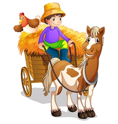 A farmer riding in his wooden cart with a horse vector image vector image
