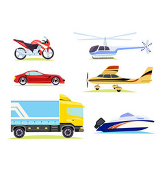 means of transportation collection of pictures vector image