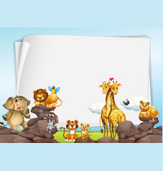 Paper background with wild animals vector