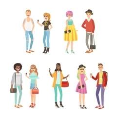 Trendy Street Fashion Clothing Style Set vector image vector image