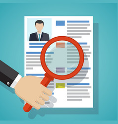view resume with magnifying glass vector image vector image