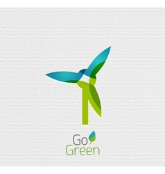 Eco Windmill Abstract Shape Design vector image