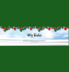 merry christmas background fir branches decorated vector image