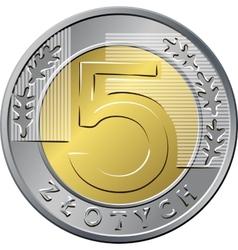 reverse Polish Money five zloty coin vector image vector image