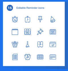 16 reminder icons vector