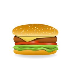 3d hamburger side view vector