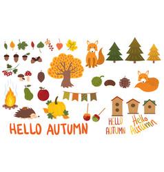 a set autumn elements collection autumn vector image