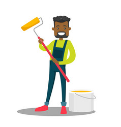 african-american painter holding a paint roller vector image