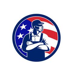 American supermarket worker wearing mask usa flag vector