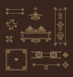 art deco frame vintage design elements vector image