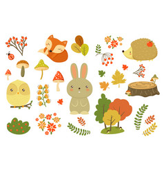 Autumn forest elements set forest animals leaves vector
