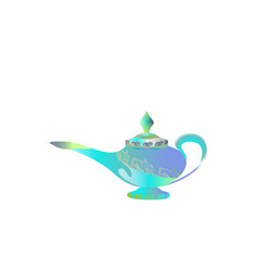 azure turquoise magic lamp tale arabian fairy vector image