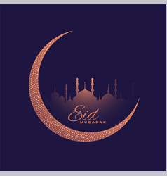 Beautiful purple moon and mosque eid festival vector