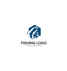 Big bass fishing logo with hexagon and negative vector