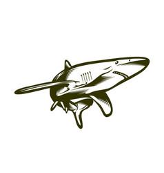 Big shark engraving style vector