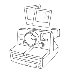 Black and white silhouette of old photo camera vector