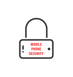 black mobile phone security icon vector image