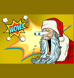 bulging eyes hyper reaction to santa claus vector image