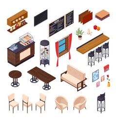 Cafe dining furniture collection vector