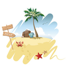 Cartoon island in the sea with luggage vector