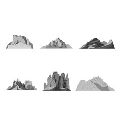 cartoon nature black landscapes mountains set vector image