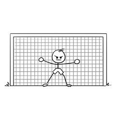 Cartoon of soccer football goalie standing in the vector