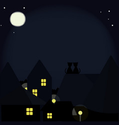 Cats on the roofs of the night city vector