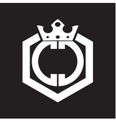 cc logo monogram rounded hexagon shape vector image