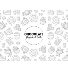 chocolate organic and tasty banner template with vector image