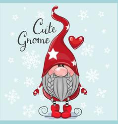 christmas card cute cartoon gnome on a blue vector image