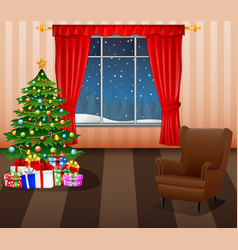 christmas living room inter vector image