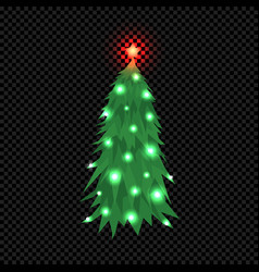 christmas tree isolated on dark transparent vector image