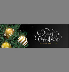Christmas web banner of gold baubles on pine tree vector