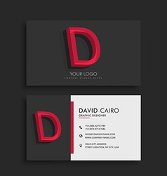 Clean dark business card with letter D vector