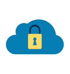 cloud locked padlock vector image